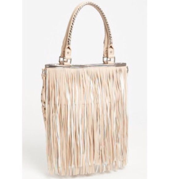 Steve Madden Fringe Bag Super Cute Aqua Lining Cream Beige Color Silver Sching Authentic Small Ink Stains Not