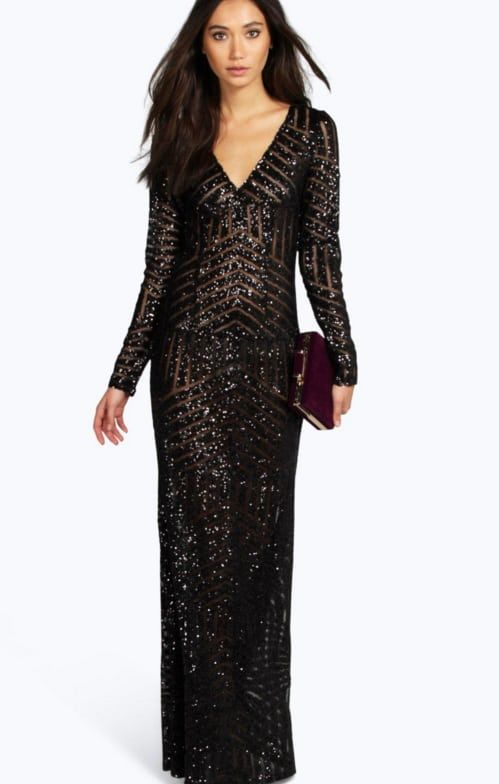 Boohoo Boutique Reem Sequin Plunge Shift Dress  a990c4579