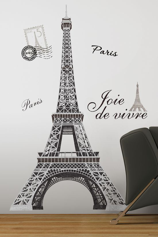 Paris France Eiffel Tower Bedroom Wall Art Mural Peel Stick Decal
