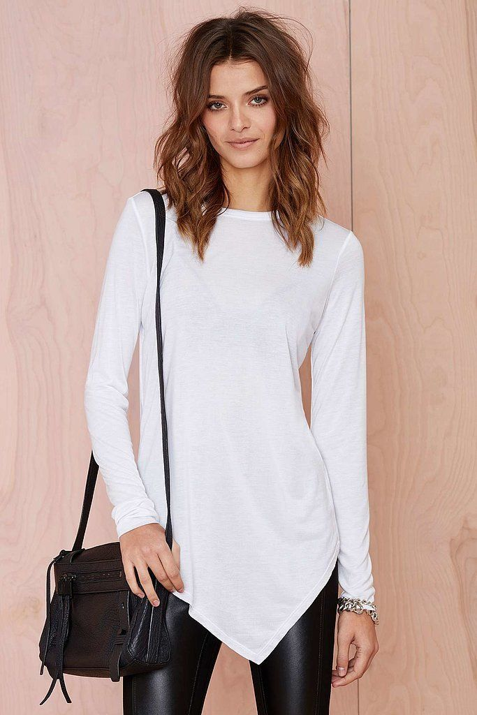 b0019b5b9a31 Nasty Gal Playing Games Modal Tee  The asymmetrical hem on Nasty Gal s  Playing Games Modal Tee ( 48) makes it an interesting piece to wear both in  and ...