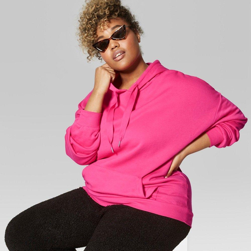 929c2ae717b2f Women s Plus Size Oversized Long Sleeve Fleece Hoodie - Wild Fable Pink 1X