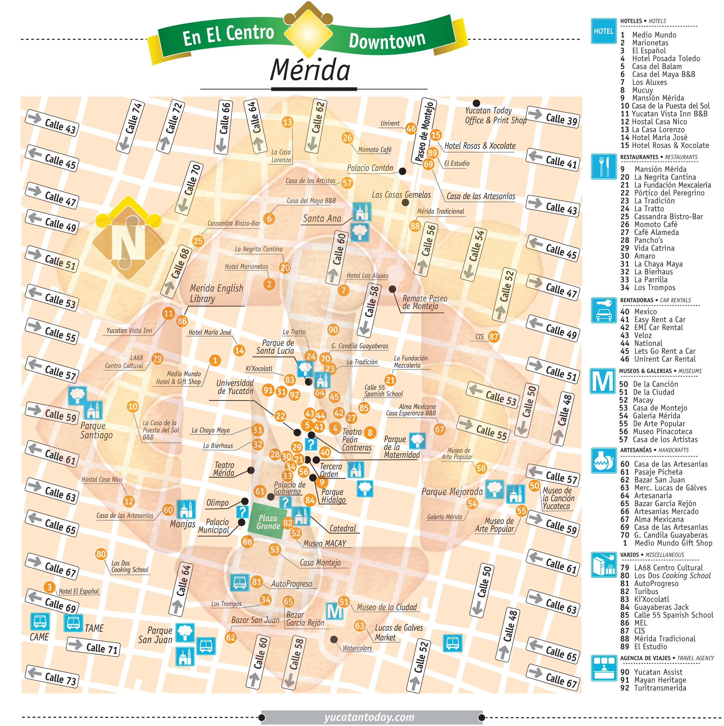 Merida Downtown Map Yucatn Pinterest Merida