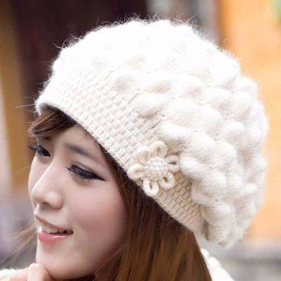 toucas femininas de lã para o inverno com modelo delicado