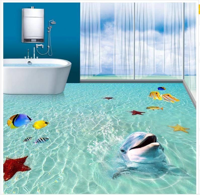 3d Dolphin Floor In The Bathroom Amazing 3d Bathroom Floors 3dfloors 3dbathroomfloor 3dflooring Dolphinfloor Floor Murals 3d Floor Art Floor Wallpaper