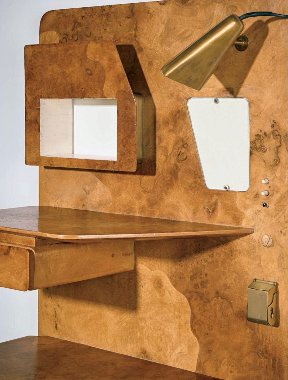 Gio Ponti Bedside Dashboard Designed For Nordiska Kompaniet Stockholm Sweden 1953 Material Walnut Root Burl Veneer Burled Wood Paint Brass Furniture Maker