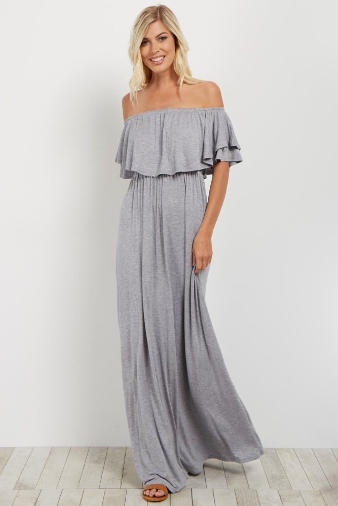 Heather Grey Off Shoulder Ruffle Trim Maxi Dress | Ruffle trim ...