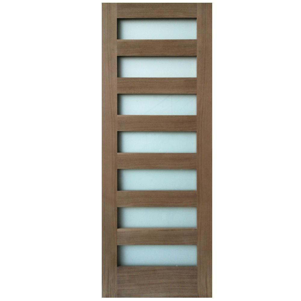 Stile Doors 24 In X 80 In 7 Lite Satin Etch Walnut Solid Core Wood Interior Door Slab Unfinished Walnut Glass Barn Doors Glass Panel Door Doors
