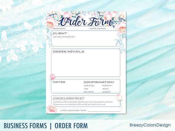 Flower Order Forms Template For Business, Craft Show, Handmade
