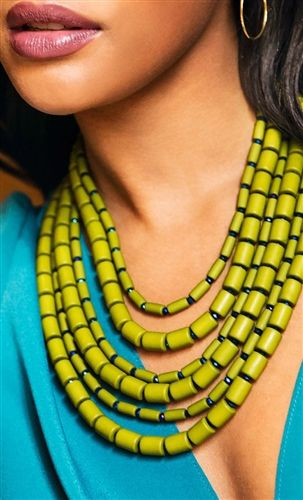 Loving this olive green layered statement necklace. It adds some drama to any look.