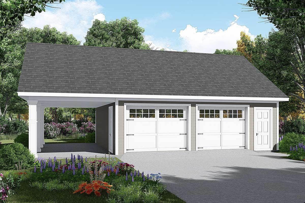 Plan 51185mm Detached Garage Plan With Carport In 2021 Garage Plans Detached Garage Door Design Detached Garage Designs