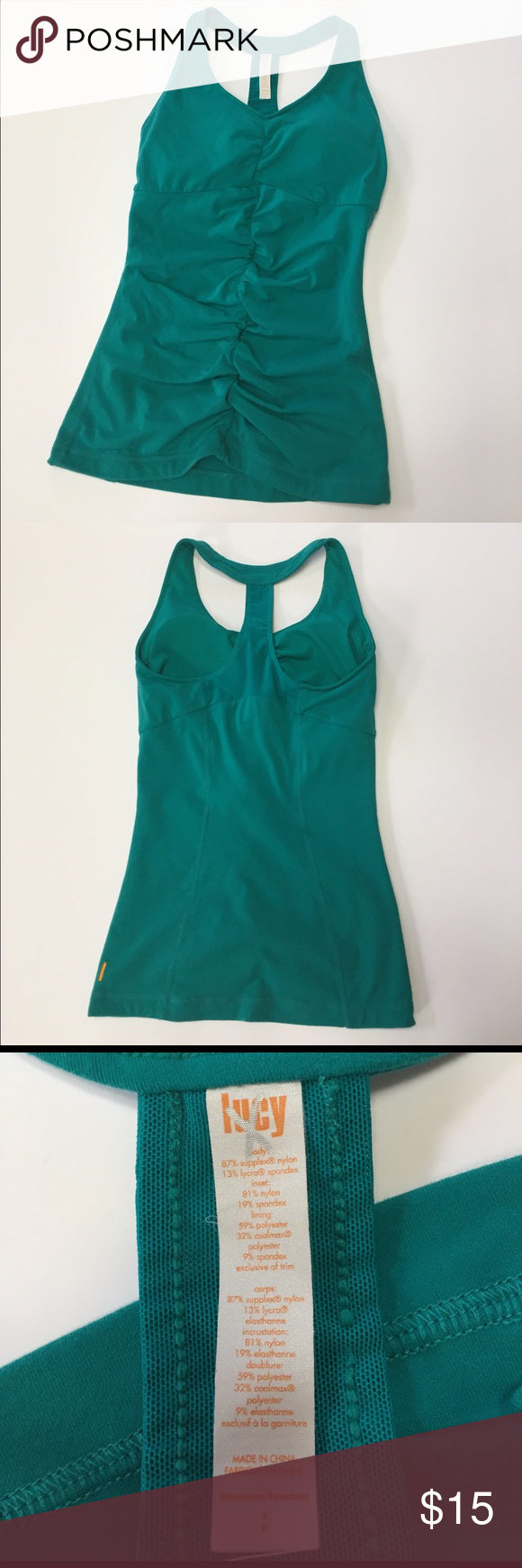 Lucy fitness workout tank top Lucy workout tank top in gently worn condition. No holes or stains. Size small. The padding in the bra is removable. Lucy Tops Tank Tops