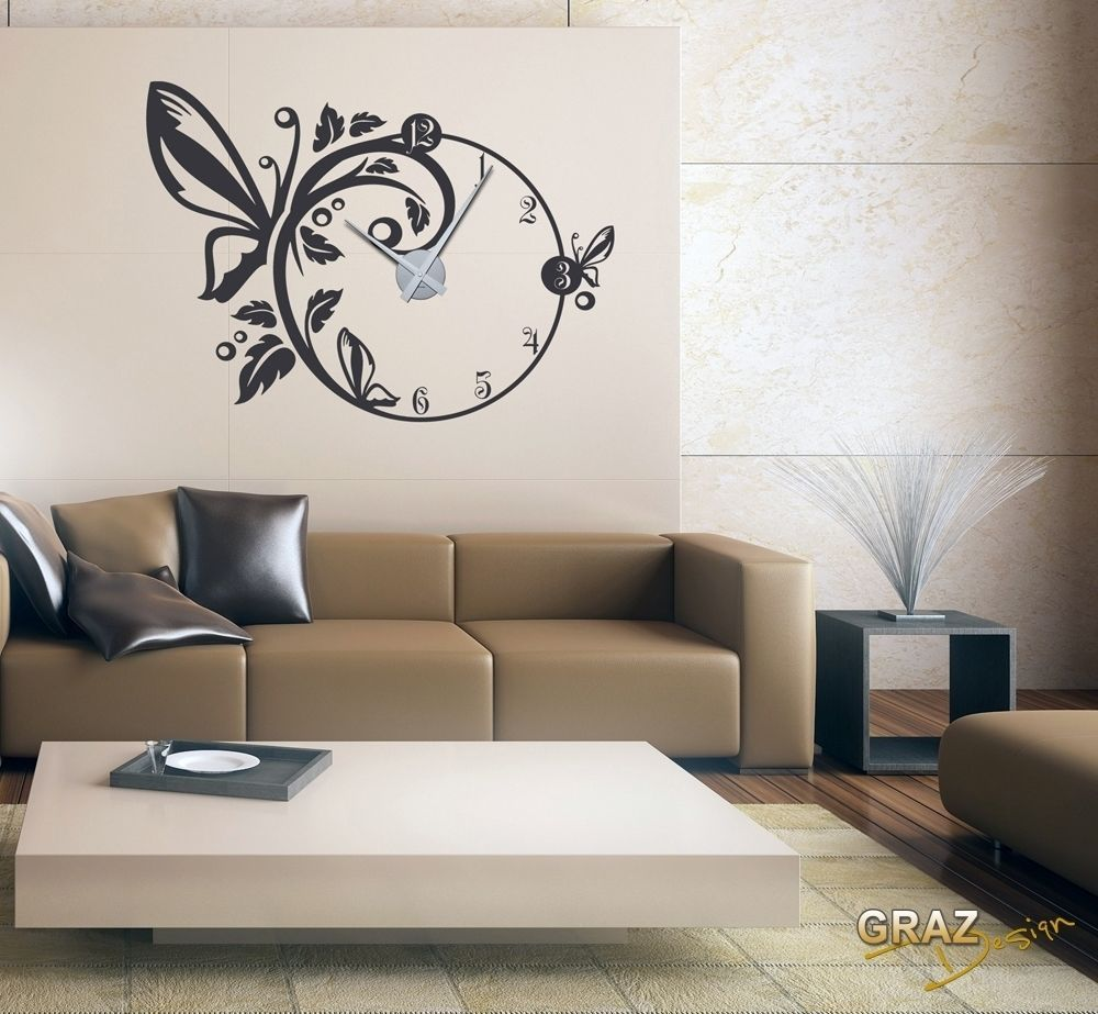 wandtattoo uhr wanduhr mit uhrwerk f r wohnzimmer schmetterling blumen bl ten home d co. Black Bedroom Furniture Sets. Home Design Ideas