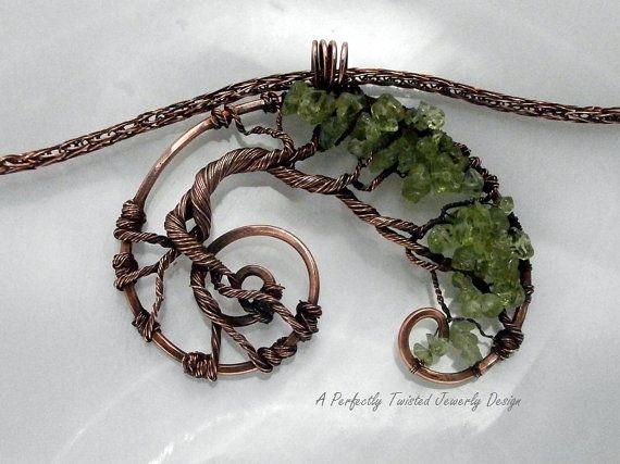 Wire Wrapped Tree of Life Pendant Necklace, Peridot & Aqua Marine ...