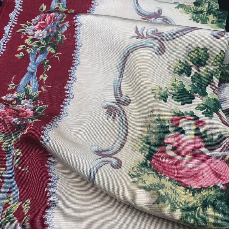 Vintage Curtain Panel 1940s 1950s Pinch Pleat Drape Burgundy