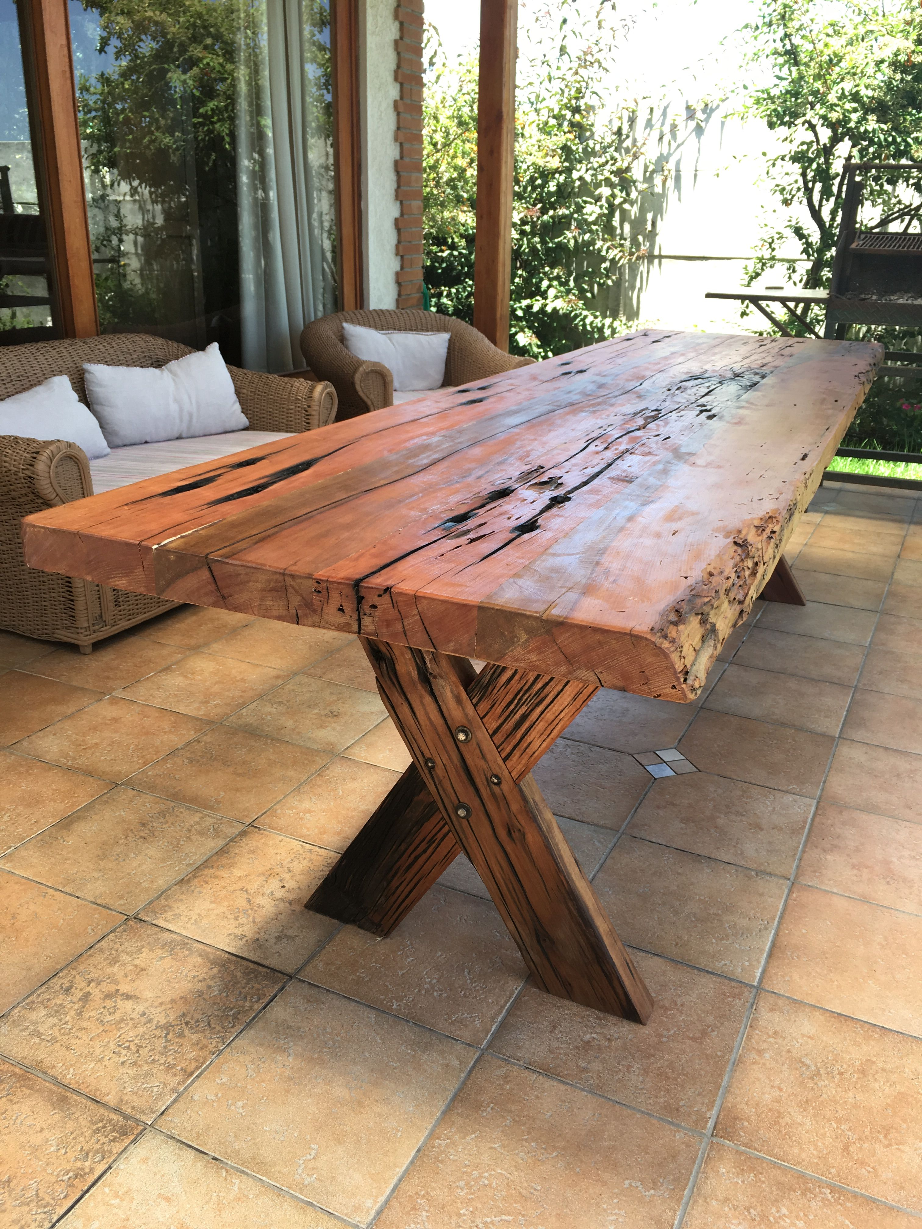 Mesa r stica de durmientes de roble ideal para quincho o - Mesas de cocina rusticas ...