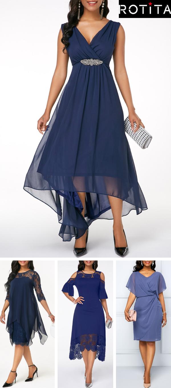 Novo País Barato Azul Marinho Da Dama De Honra Vestidos