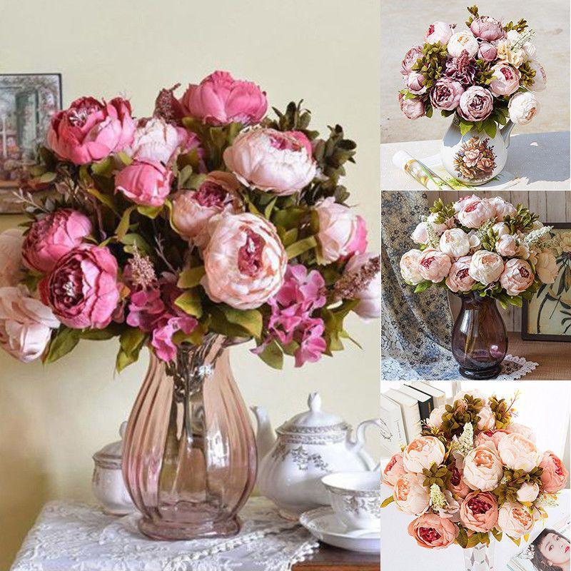 13 Heads Silk Peony Artificial Flowers Peony Wedding Bouquet Party Decor F Artificial Flowers Wedding Artificial Flower Wedding Bouquets Flower Bouquet Wedding