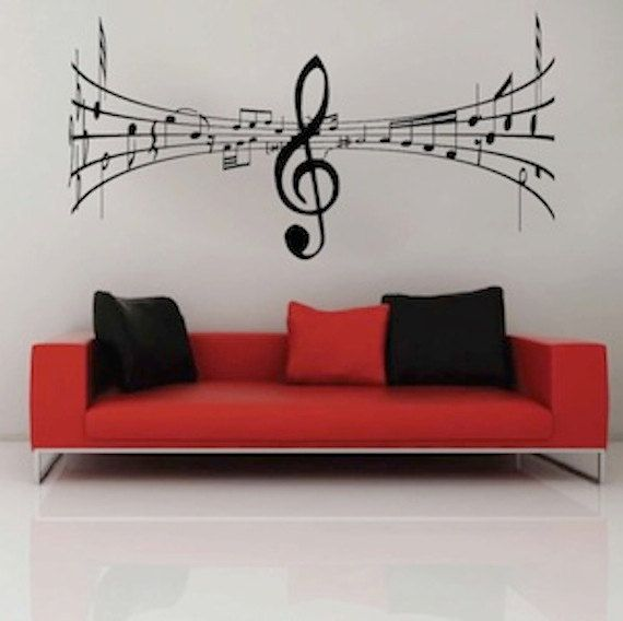 Music Wall Decal Studio Music Symbol Art Mural, Music Room Sticker ...