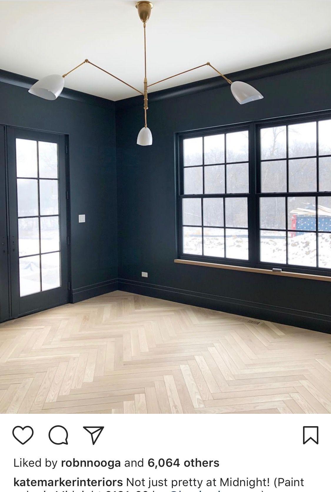 Office Dark Walls And Light Herringbone Floors Paint Color