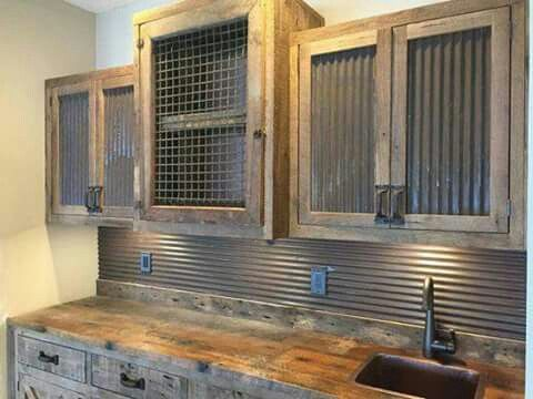 Corrugated Metal And Painted Cabinets Wire Cabinet Doors And