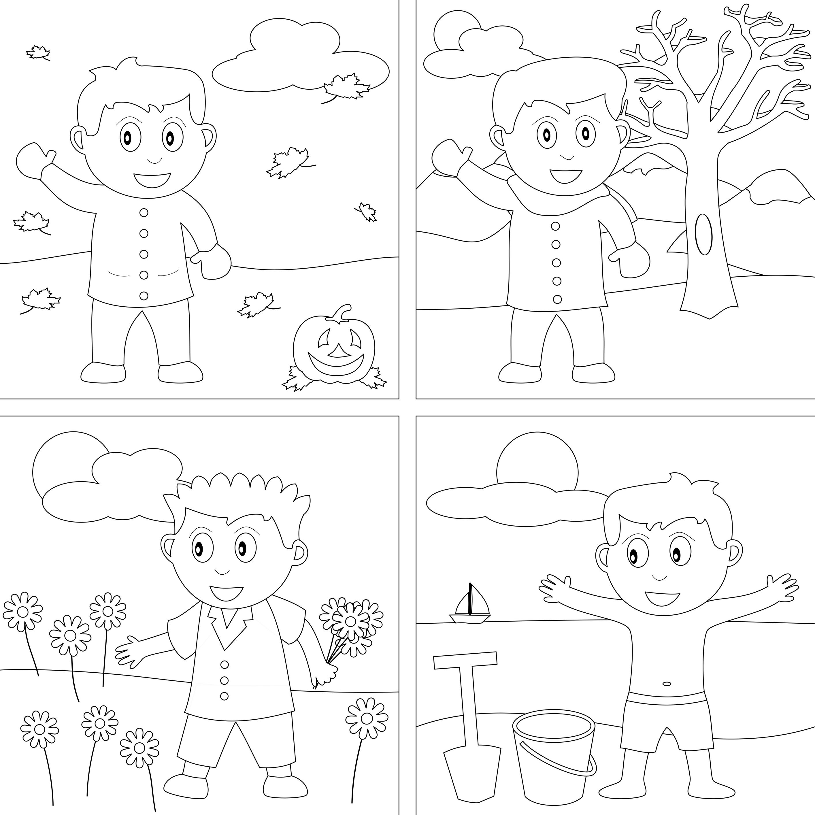 4 Seasons Coloring Pages Seasons Worksheets