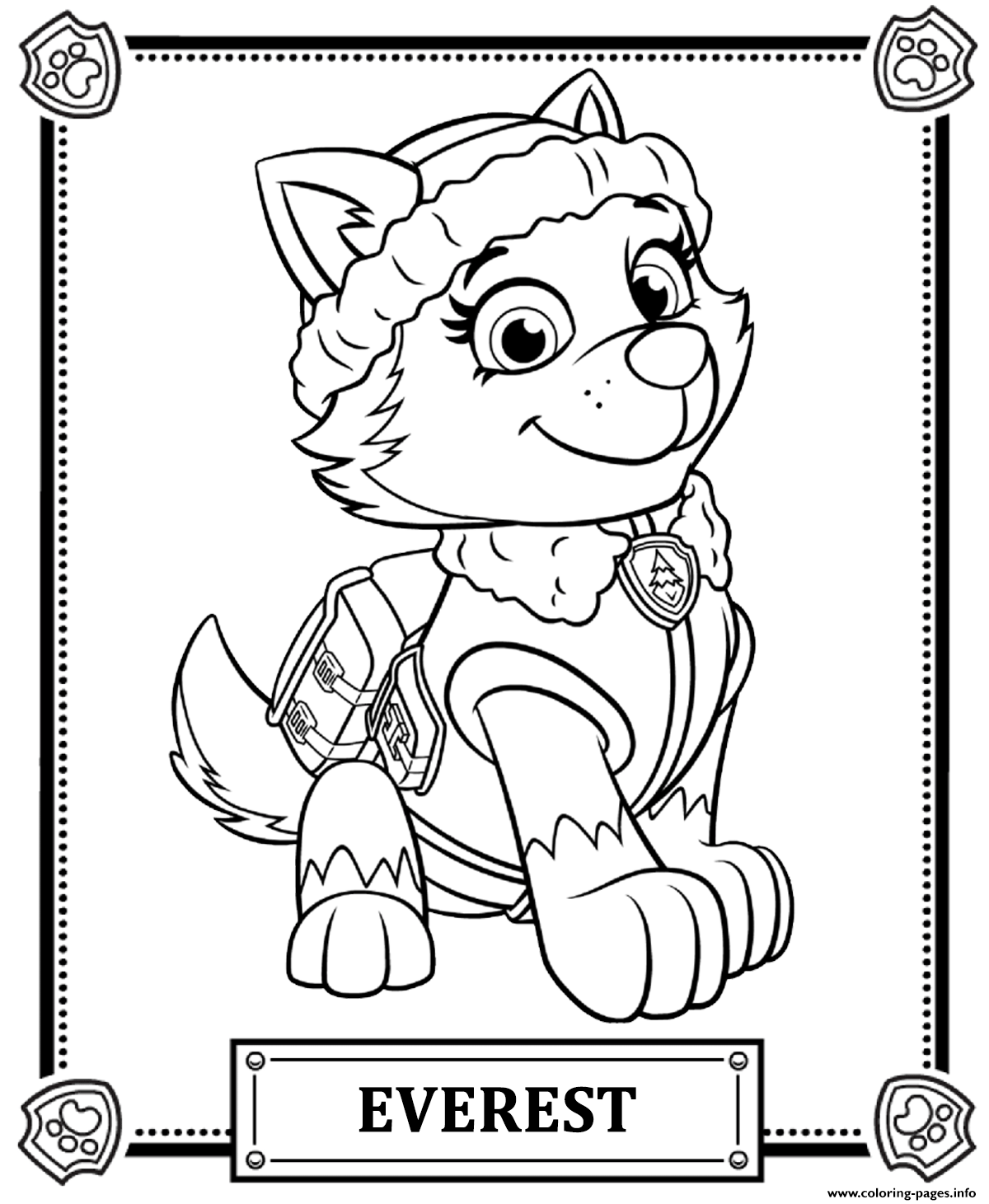 Print paw patrol everest coloring pages kleurplaten Paw Patrol