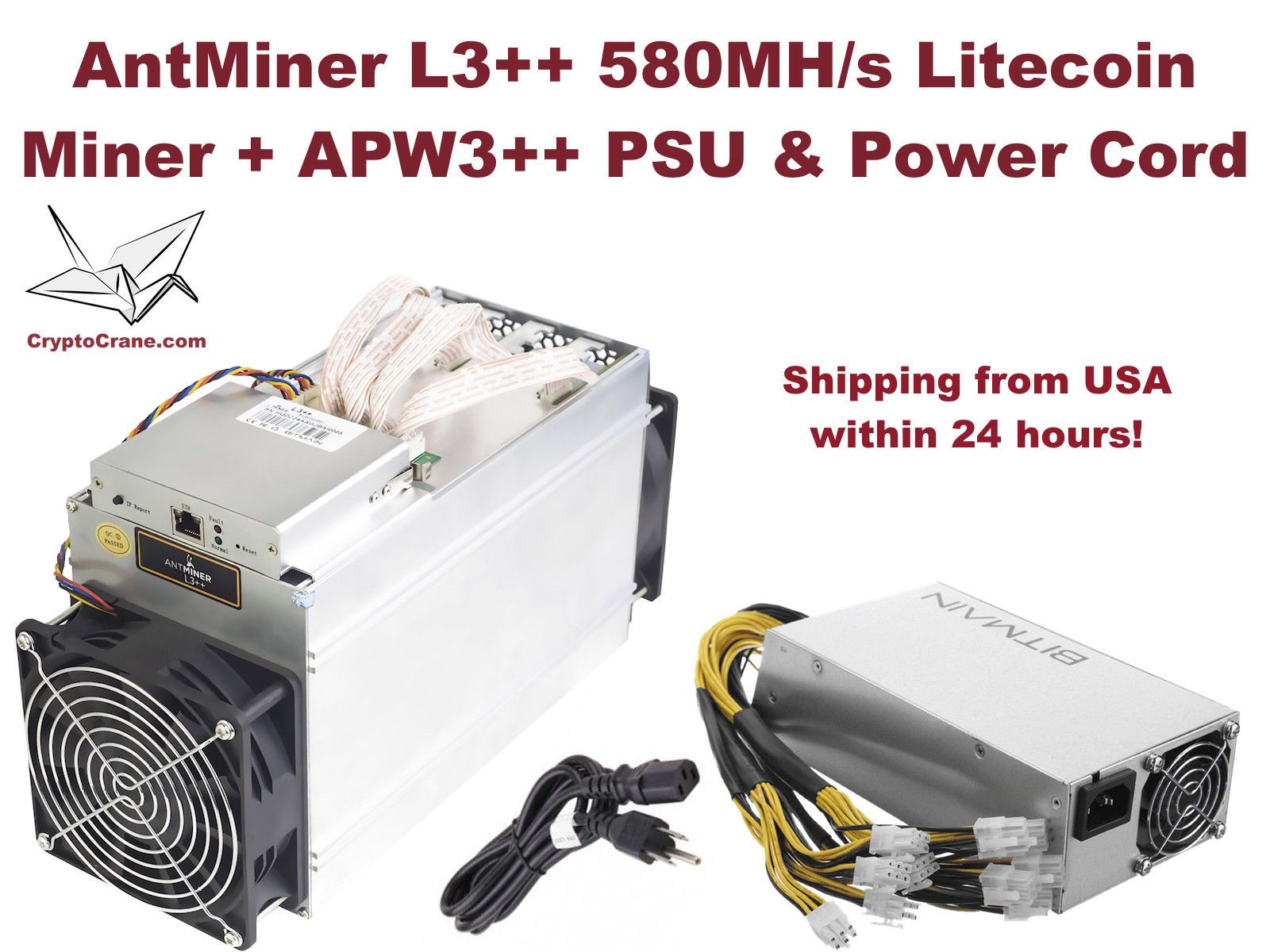 NEW Bitmain AntMiner L3++ 580 MH/s Litecoin Miner with PSU In-Hand