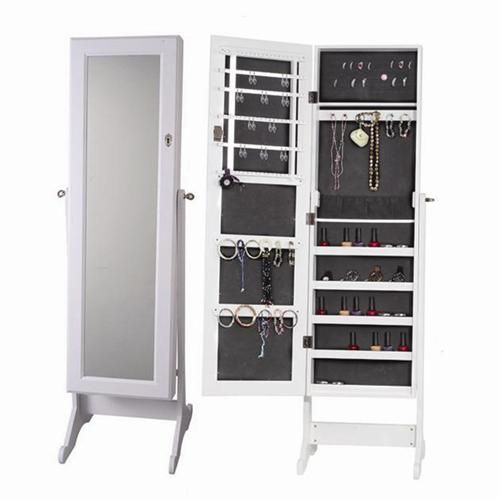 White free standing white bedroom mirror jewellery box cabinet ...