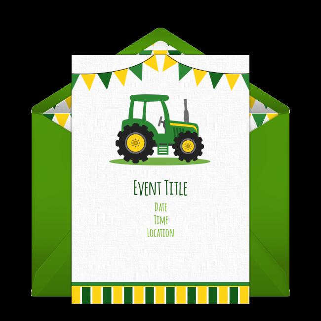 Free Tractor Banner Invitations Tractor Birthday Party Tractor Birthday Invitations Birthday Party Invitations Free