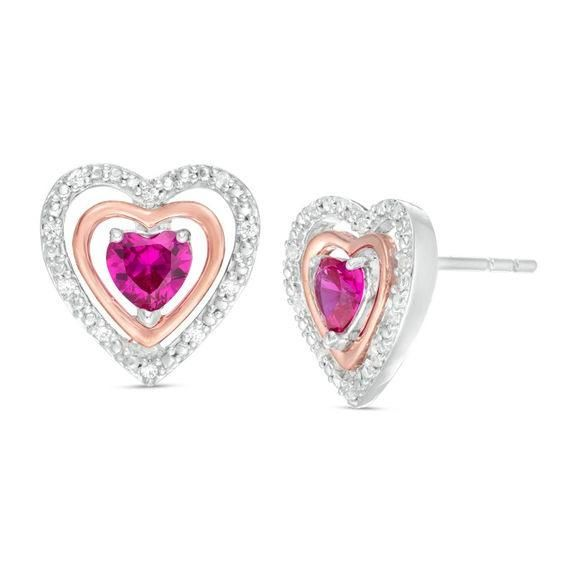 Zales 5.0mm Heart-Shaped Lab-Created Ruby and Diamond Accent Bracelet in Sterling Silver with 10K Gold Plate - 7.25 zQNrEXS9g