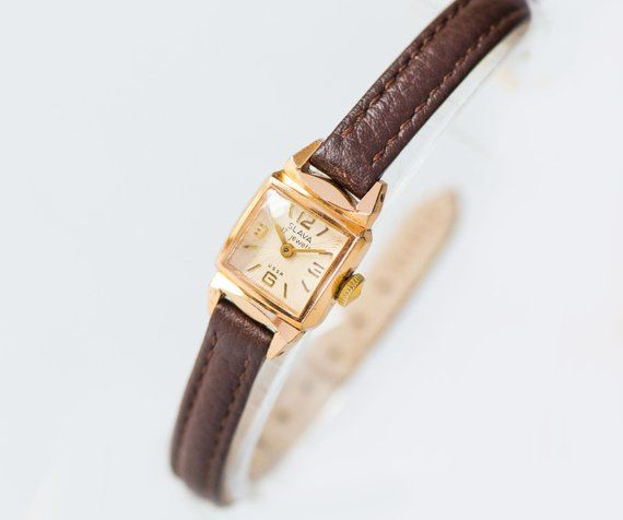 Vintage sunburst women watch Glory, art deco women wristwatch tiny, gold shade lady's watch, square petite watch, genuine leather strap new #vintagewatches