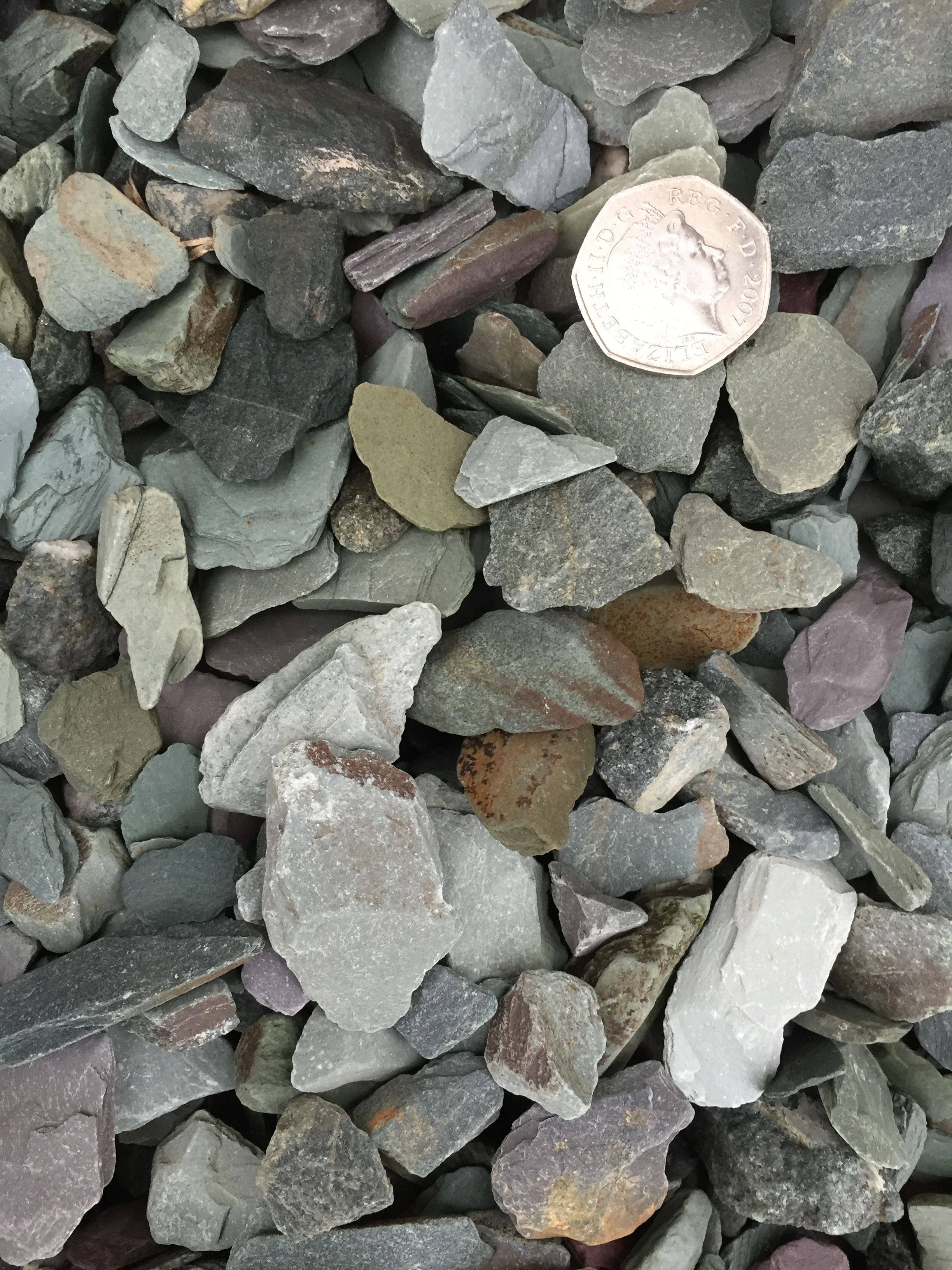 20mm Green Slate Chippings As Seen Dry With Scale Provided Decorative Gravel Pictures Green