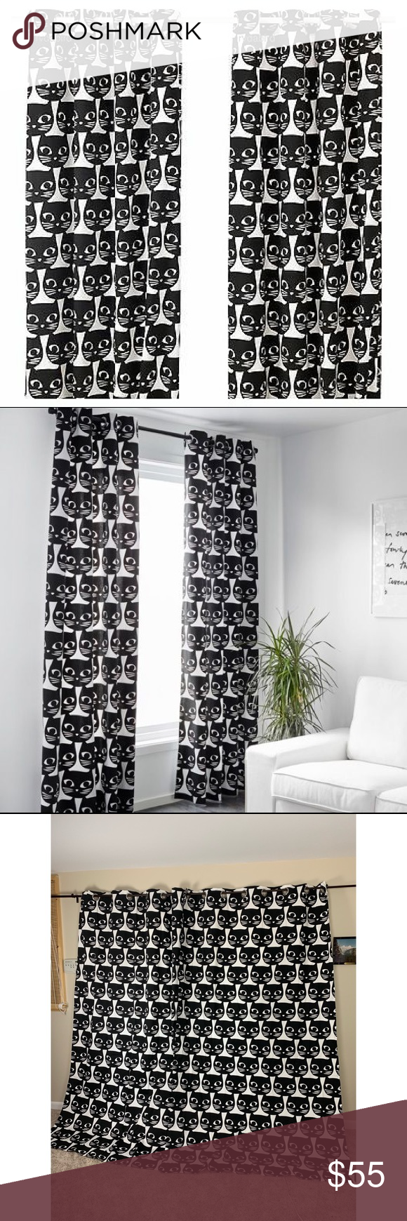 IKEA Mattram Cat Curtains Black and