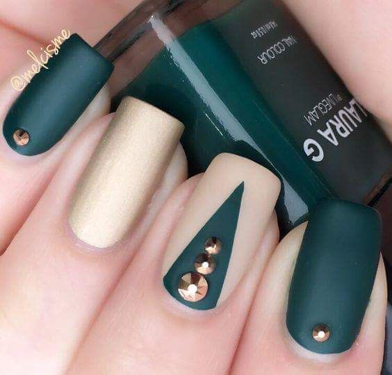 Dark Green And Golden Nails With Gold Studs - 60+ Trendy Matte Nail Designs That Fit Every Woman's Taste