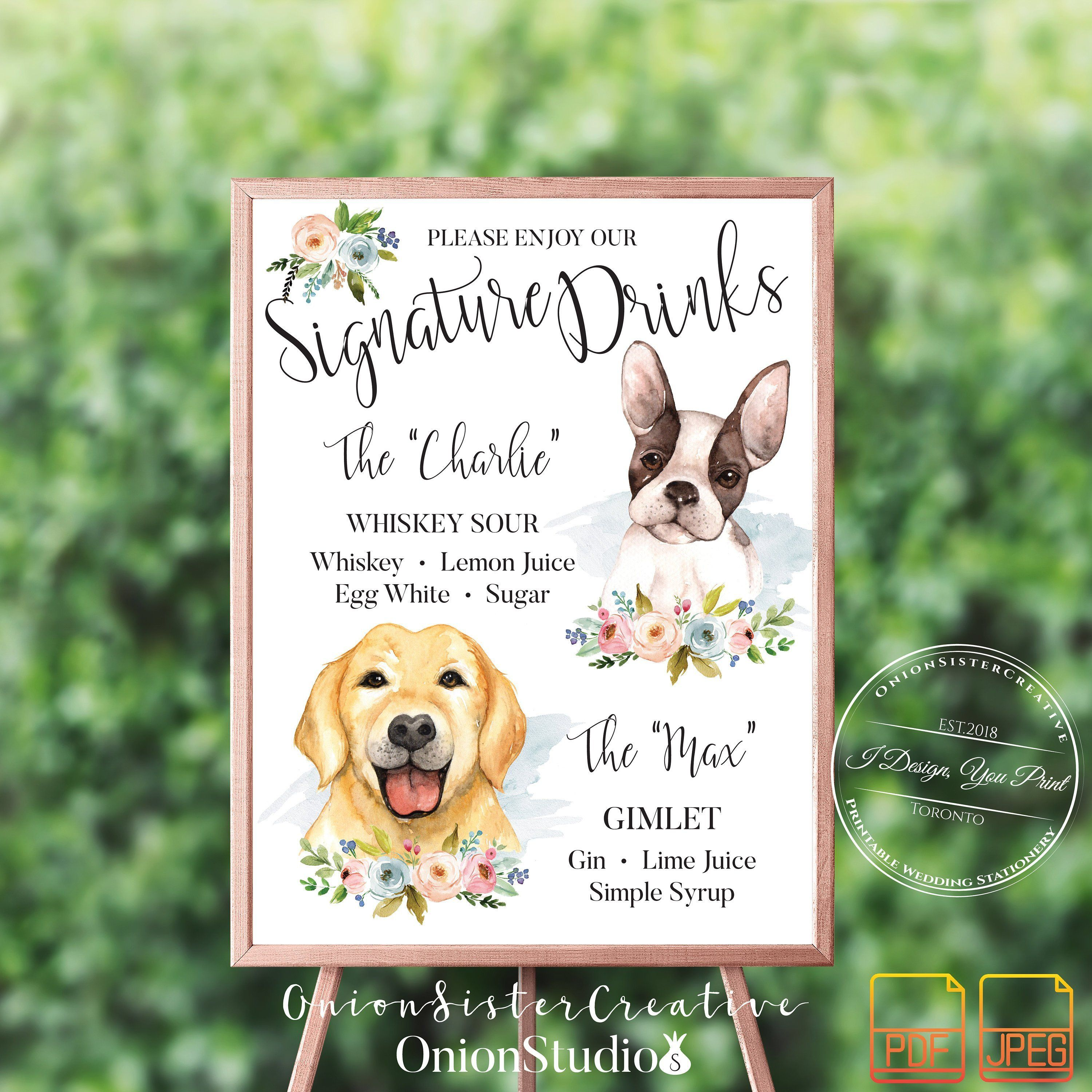 Signature Drink Sign With Pet,Rustic Wedding Cocktail Sign