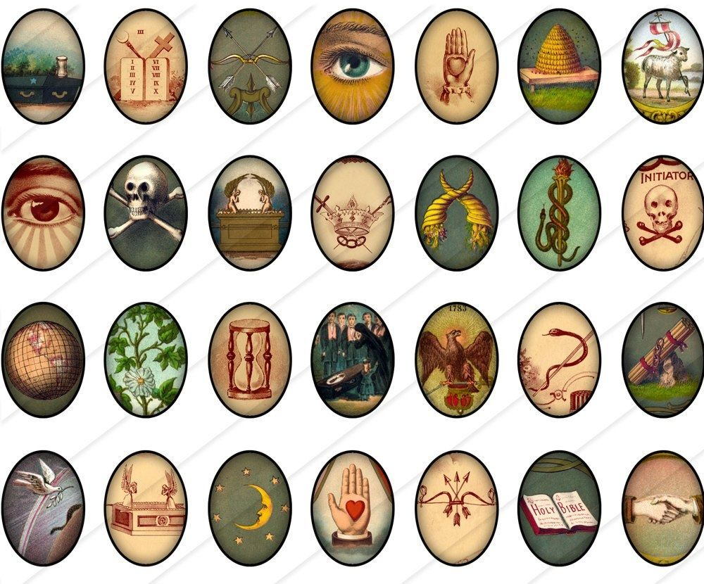 18x25 mm digital printable ovals vintage symbols 1 for cameos an interesting collection of odd fellows symbols biocorpaavc Image collections
