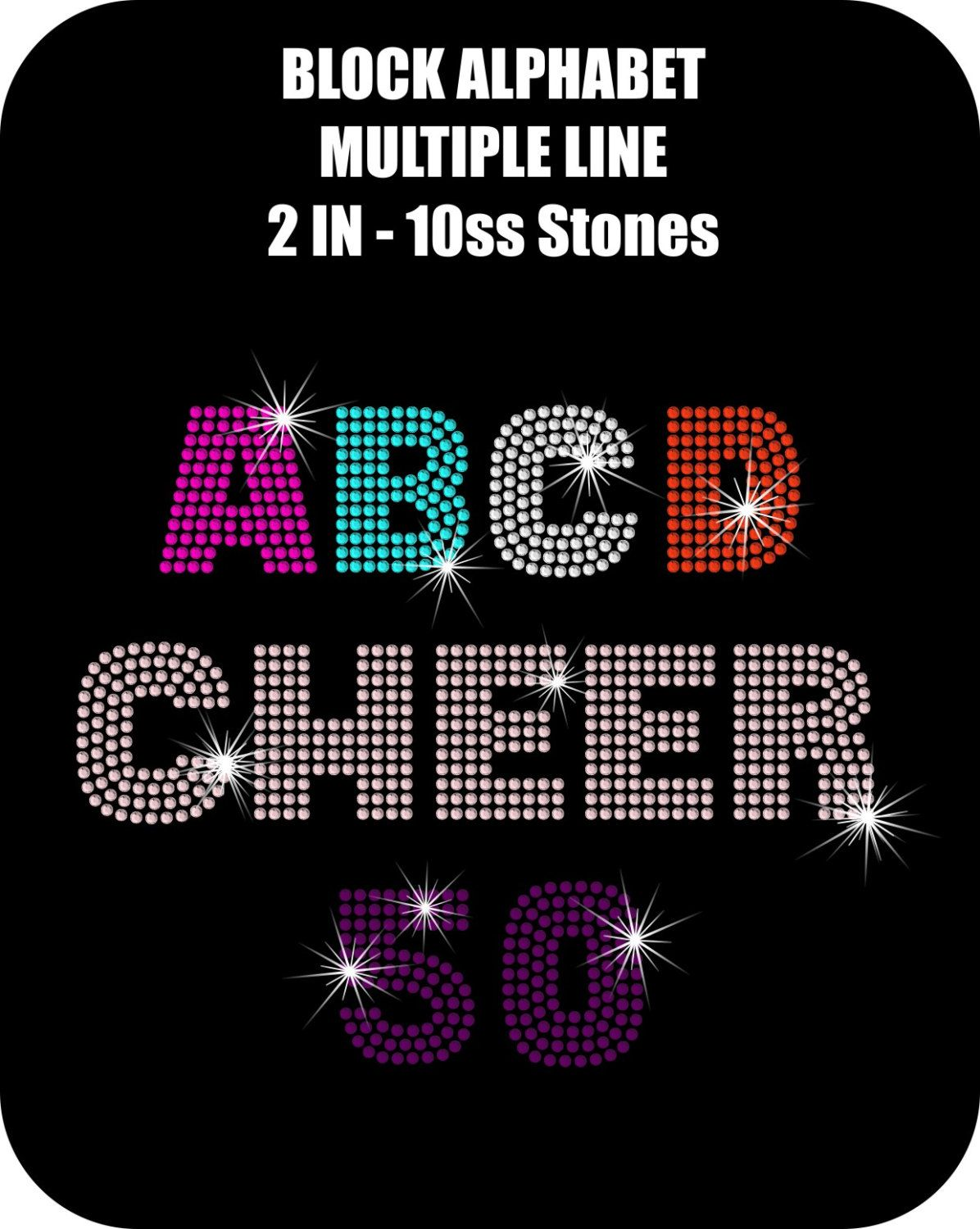 Rhinestone Alphabet Template Font Letters DOWNLOAD ONLY