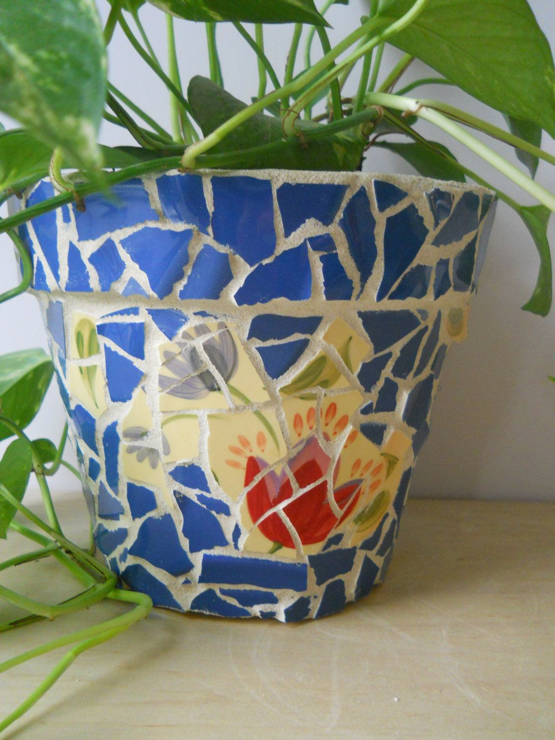 exterior charming mosaic design ideas applied for small potted flowers that usually could be placed - Mosaic Design Ideas