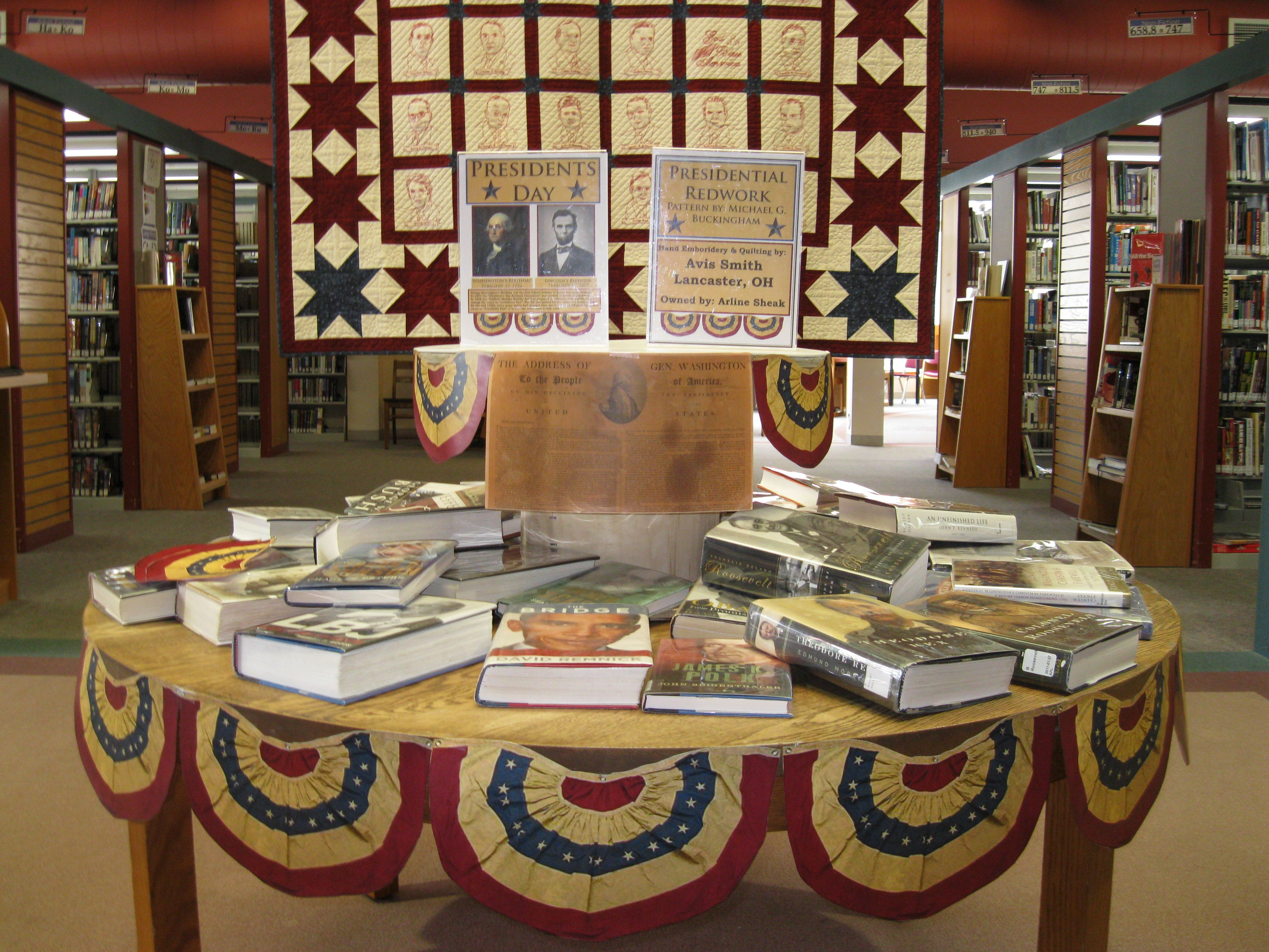 Presidents Day display and quilt