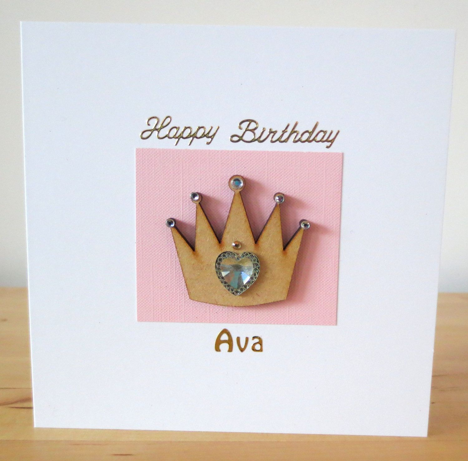 Children Birthday Card For Her Handmade Crown Daughter Niece Greeting By