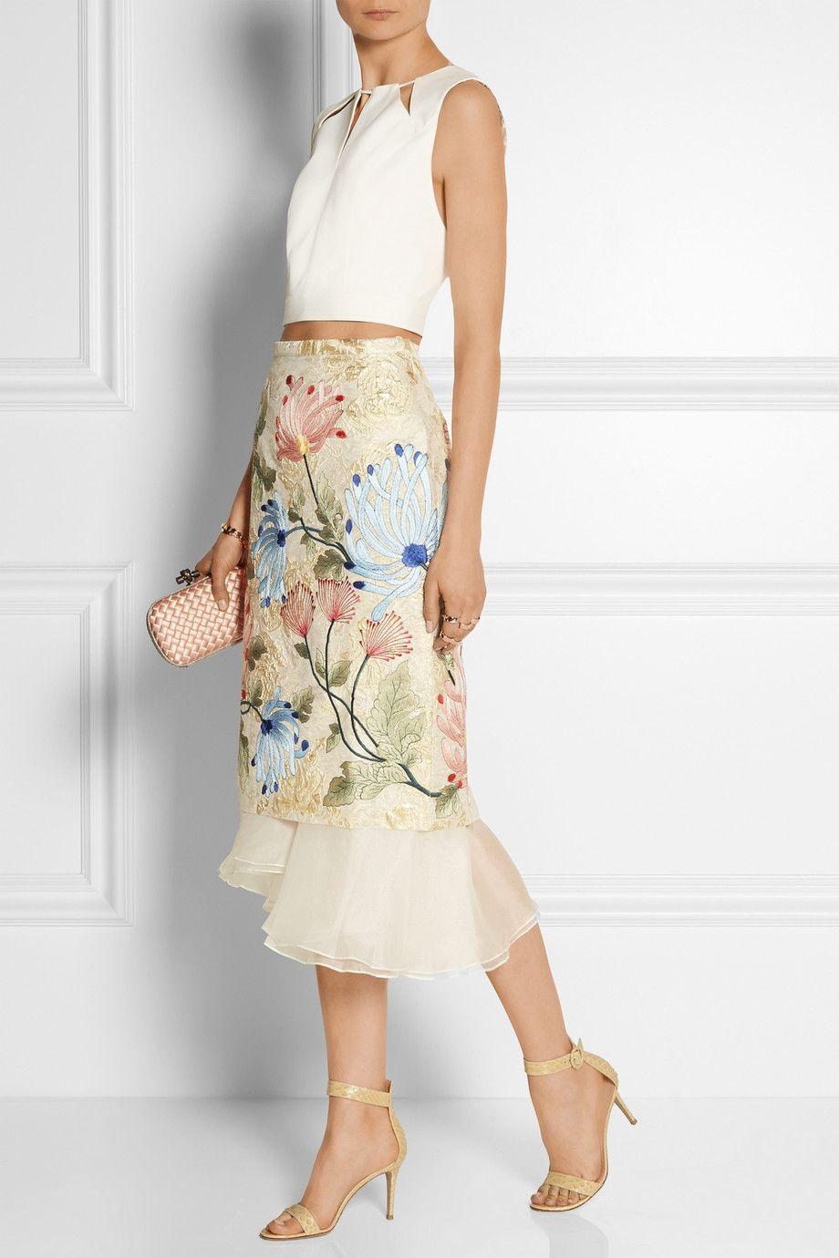 4289c2d1bd7a Biyan   Mirea embroidered brocade and silk-organza midi skirt    NET-A-PORTER.COM (Beautiful skirt, but would make myself)