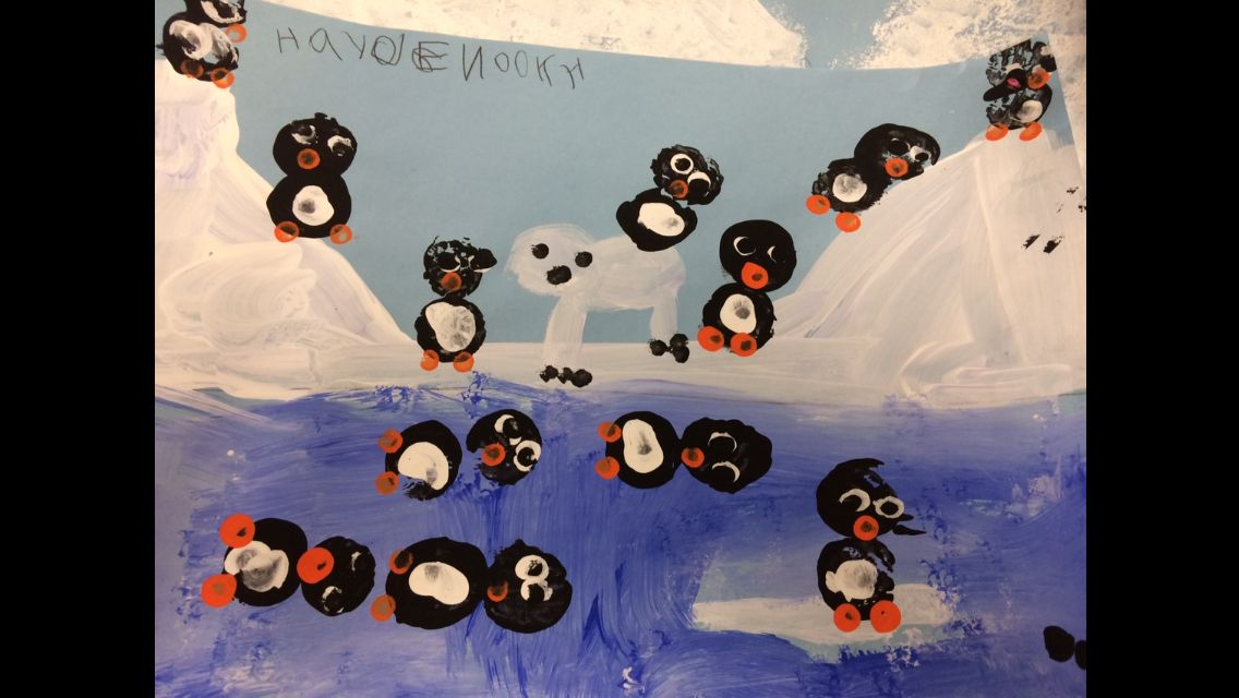 Penguins on and Iceberg and a Polar Bear Fall 2013 Kindergarten Art