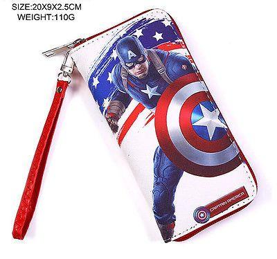 lot Captain America unisex cartoon Children women men long purses bag NEW wallet