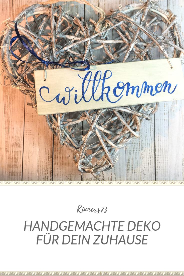 Wooden door sign Willkommen (handpainted)