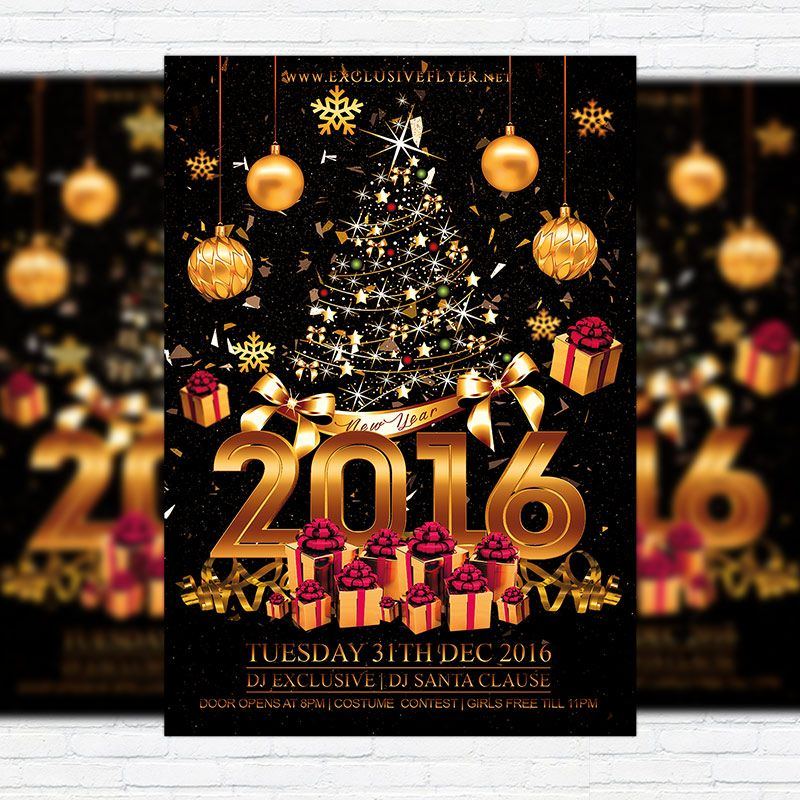 Happy New Year - Premium Flyer Template + Facebook Cover http - new year brochure template