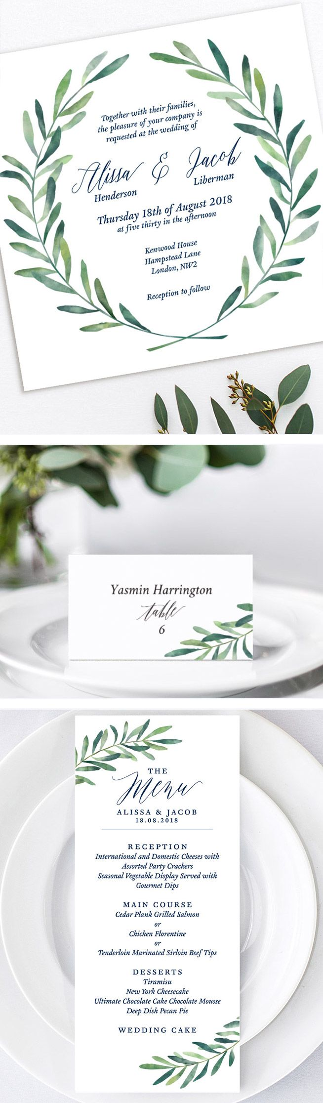 Customized Printable Wedding Invitation Template Boho Eucalyptus Wreath Set Diy Cards Watercolor Leaf Modern Calligraphy: Eucalytus Garland Wedding Place Card Templates At Websimilar.org