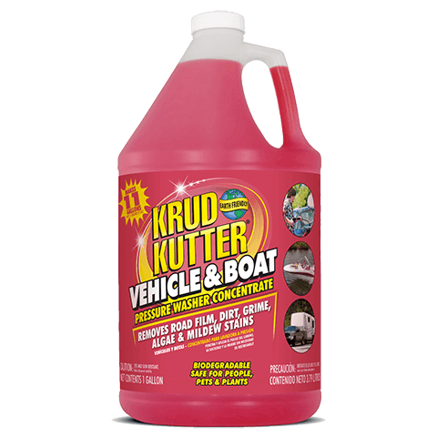 Krud Kutter® Vehicle & Boat Pressure Washer Concentrate is a safe and effective cleaner for use on all vehicles including ATVs, Go-Karts, RVs, boats, trailers, cars, trucks, tractors and vans. It penetrates and loosens road film, dirt, grime and algae/mildew stains without scrubbing.