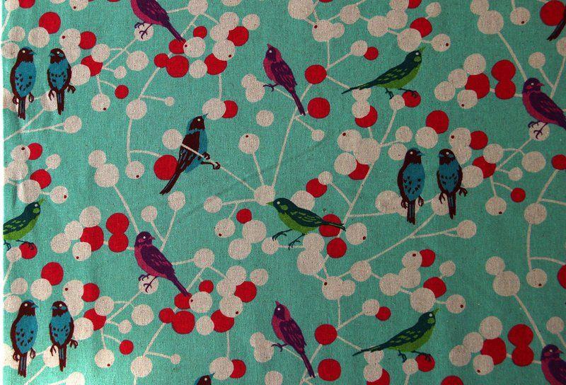 KOKKA  Echino Leinen Baumwolle ♥Birds♥ Aqua von Teuto-Elfen Stoffträume auf DaWanda.com