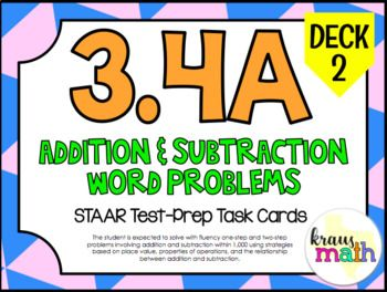 NEW 3rd Grade Math STAAR Test Prep Task Cards! 3.4A: Addition & Subtraction Word Problems