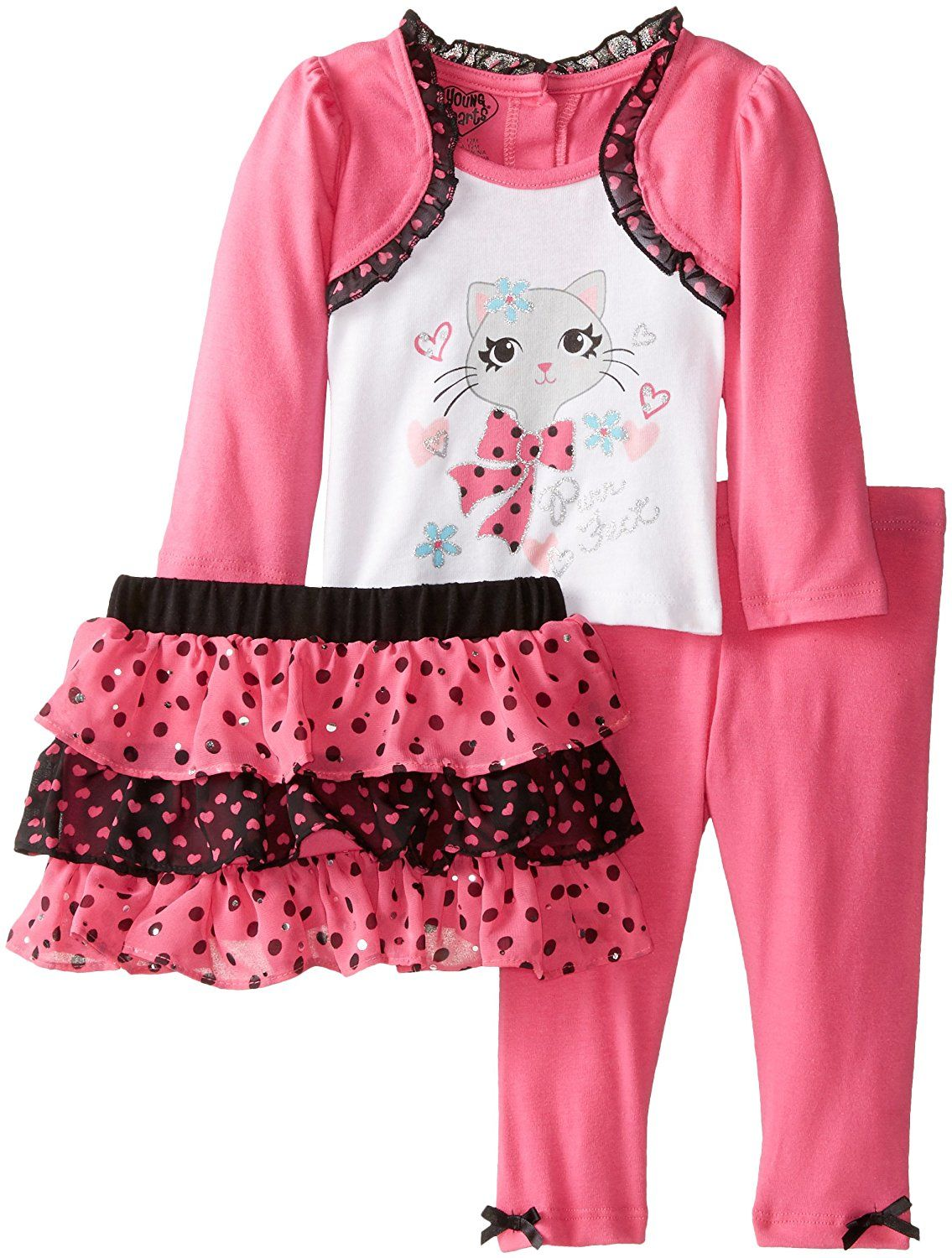 256145b57f15 Young Hearts Baby Girls' 3 Piece Cat Design Shirt Skirt and Legging -- Wow!  I love this. Check it out now! : Baby clothes